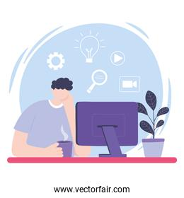 online training, boy looking video lesson computer, courses knowledge development using internet