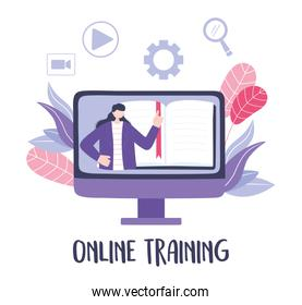 online training, computer woman in video teaching, courses knowledge development using internet
