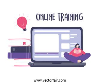 online training, girl reading book sitting on laptop content, courses knowledge development using internet