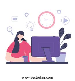 online training, woman using computer class learning, courses knowledge development using internet