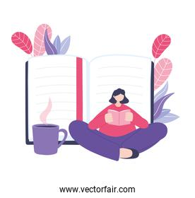 online training, woman sitting reading book with coffee cup, courses knowledge development using internet