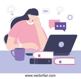 online training, student woman laptop with books, courses knowledge development using internet