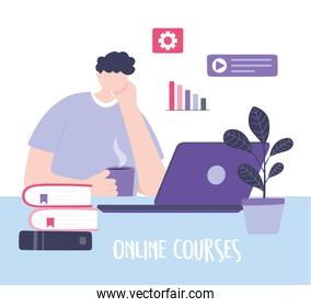 online training, student man laptop with books, courses knowledge development using internet