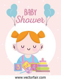baby shower, cute little girl with blocks candy and pyramid cartoon, announce newborn welcome card