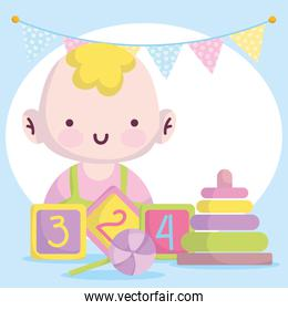 baby shower, little boy with blocks candy and pyramid cartoon, announce newborn welcome card
