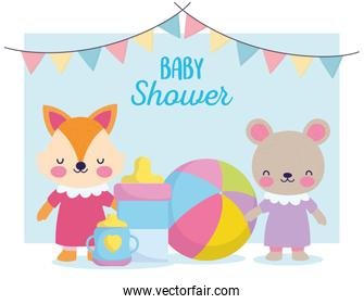 baby shower, cute teddy bear and fox with bottle feed ball and cup, announce newborn welcome card