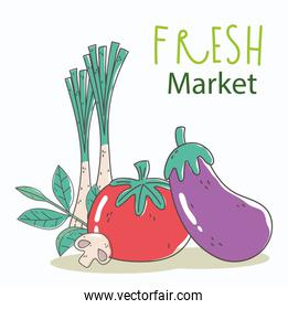 eggplant tomato and onion fresh market organic healthy food with fruits and vegetables