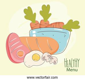 meat bread egg and bowl with carrots, fresh market organic healthy food with fruits and vegetables