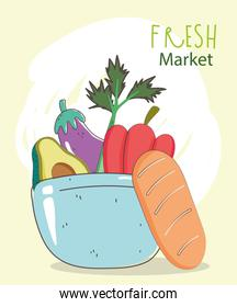 bread and dish bowl with vegetables fresh market organic healthy food