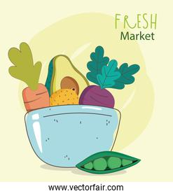 dish bowl avocado bread eggplant fresh market organic healthy food with fruits and vegetables