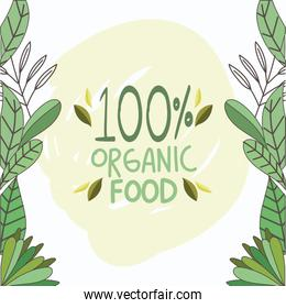 leaves fresh organic healthy food with fruits and vegetables poster