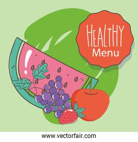 menu watermelon grapes apple strawberry fresh organic healthy food with fruits and vegetables