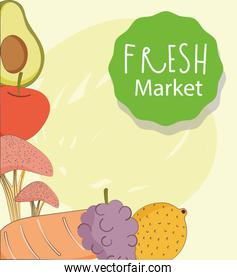 fresh market organic healthy food with fruits and vegetables harvest poster