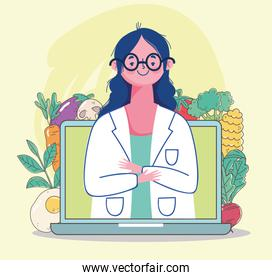 female dietitian doctor in video laptop, fresh market organic healthy food with fruits and vegetables