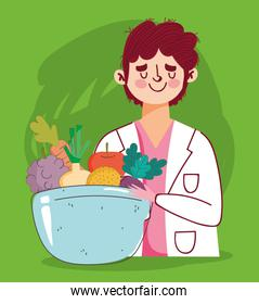 dietitian doctor with dish bowl with fruits and vegetables, fresh market organic healthy food