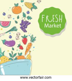 bowl fresh market organic healthy food with fruits and vegetables