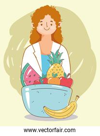 female dietitian doctor dish with fruits, fresh market organic healthy food