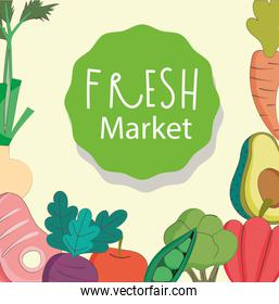 fresh market meat avocado carrot organic healthy food with fruits and vegetables