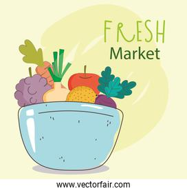 bowl grapes onion apple grapes fresh market organic healthy food with fruits and vegetables
