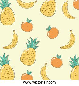 pineapple banana and orange fresh market organic healthy food with fruits background