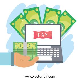 online payment, hand with money laptop pay button, ecommerce market shopping, mobile app