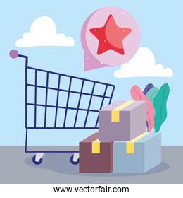 shopping cart with boxes and speech bubble
