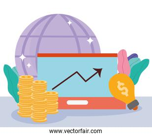 online payment, laptop coins world creativity, ecommerce market shopping, mobile app