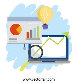 online payment, laptop presentation board analysis financial, ecommerce market shopping, mobile app