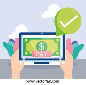online payment, hands with tablet banknote money pay button, ecommerce market shopping, mobile app