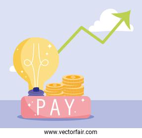 online payment, coins money growth arrow pay button, ecommerce market shopping, mobile app