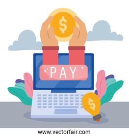 online payment, hands with money in laptop, ecommerce market shopping, mobile app