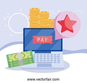 online payment, laptop banknote coins money pay button, ecommerce market shopping, mobile app