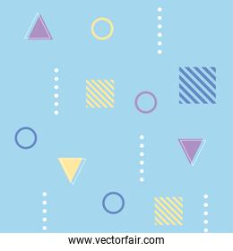 memphis geometric seamless pattern different shapes 80s 90s style abstract blue background