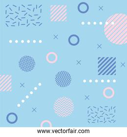 memphis form a triangle and squares 80s 90s style abstract blue background
