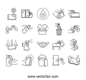 cleaning disinfection, coronavirus prevention sanitizer products line style icons set