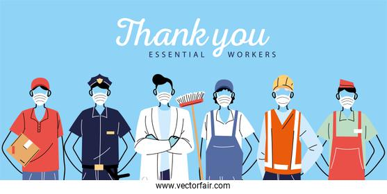 thank you essential workers, various occupations people wearing face masks