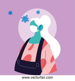 Old woman cartoon with mask and covid 19 vector design