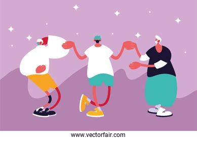 Urban men cartoons with masks casual cloth and stars vector design
