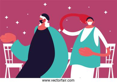 Men cartoons with masks and restaurant table vector design