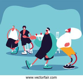 Men cartoons with masks and restaurant table with drinks vector design