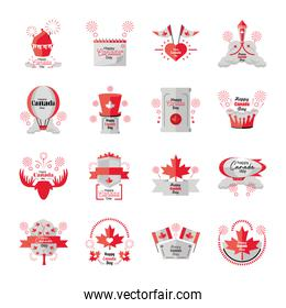 set of icons Canada day, national holiday