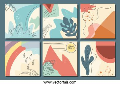 set of abstract backgrounds, drawn with various shapes and doodles objects
