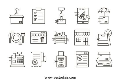 delivery food groceries service set icons