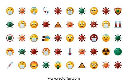bundle of covid19 emojis set icons