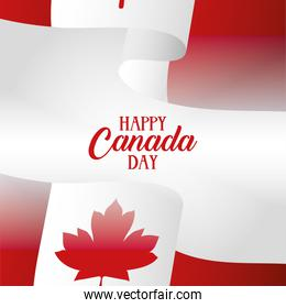 canada day celebration card with flag