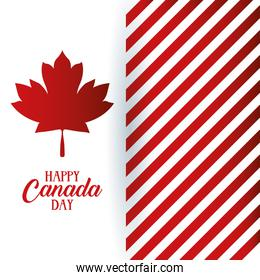 canada day celebration card with maple leaf and stripes