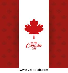 canada day celebration card with flag and maple leafs pattern