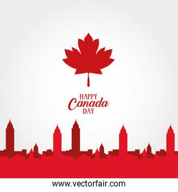 canada day celebration card with maple leaf and cityscape