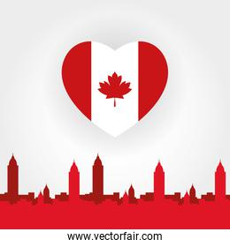 canada day celebration card with flag in heart and cityscape