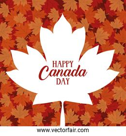canada day celebration card with maple leafs foliage